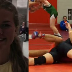 Norwegian girl enters men wrestling team and dominates U.S. wrestling guys in competition